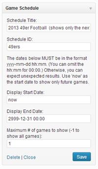 Game Schedule Widget Admin