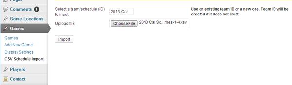 Game Schedules CSV File Upload Screen