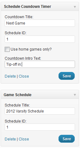 Schedule and countdown widget admin