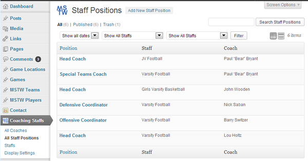 All Staff Positions Admin Screen