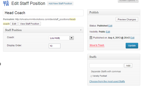 Add/Edit Staff Position Admin Screen