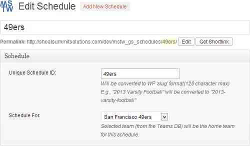 Game Schedules Edit Schedule Screen