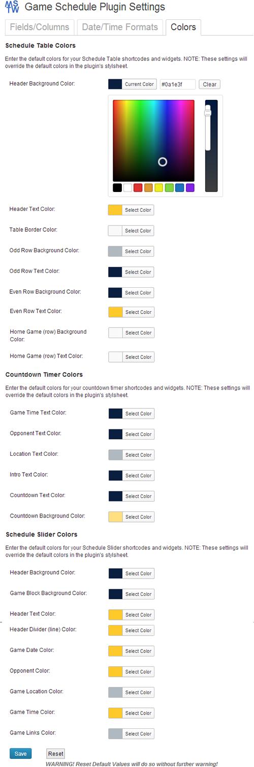 Display Settings Color Tab