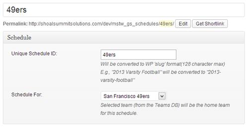 Add/Edit Schedule Admin Screen