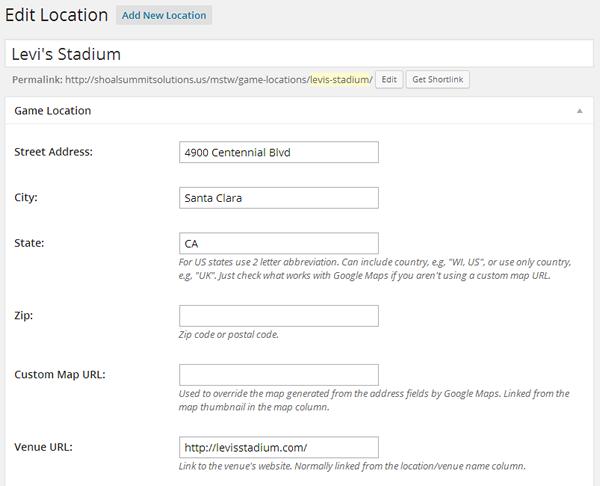 Add/Edit Location Admin Screen
