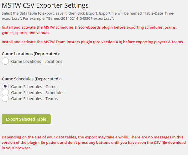 MSTW CSV Exporter Settings Screen