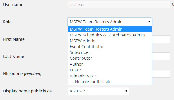 User Admin Screen with MSTW Roles