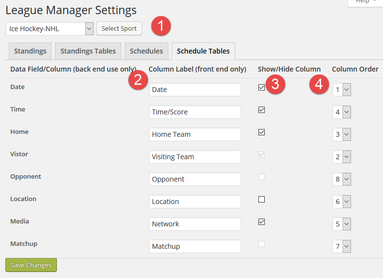Settings - Schedule Tables Tab
