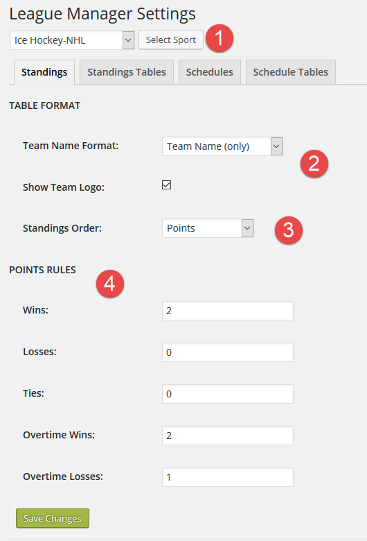 Settings - Standings Tab