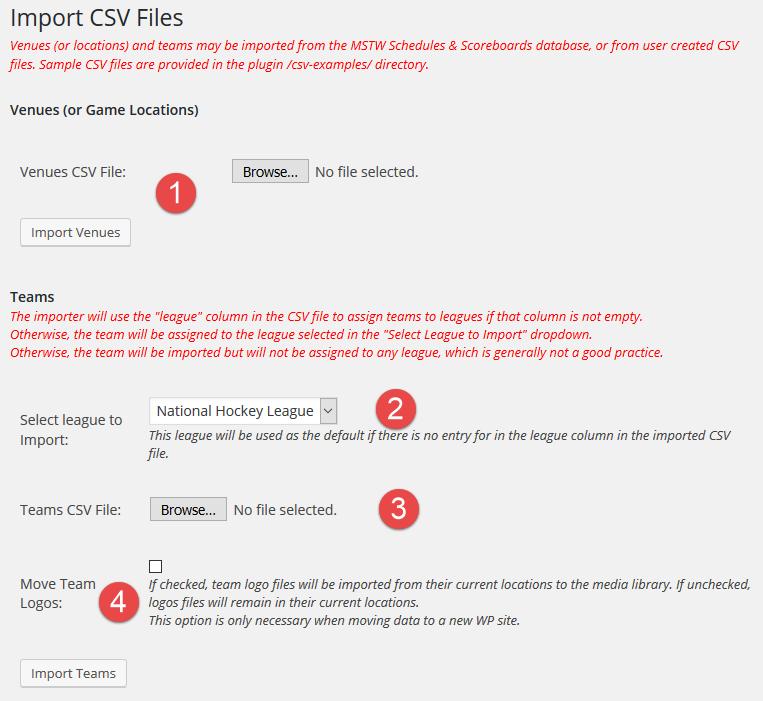 CSV Import Screen
