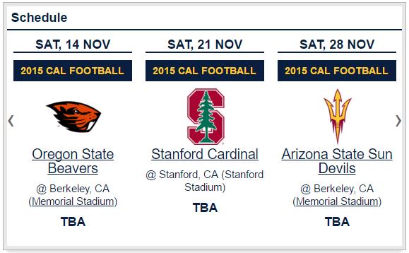Cal Schedule Slider